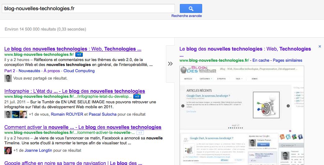 Google lance la prévisualisation instantanée ! Quelques captures d'écran de la fonctionnalité