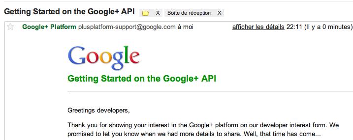L'API Google+ est enfin disponible !!! - Mail