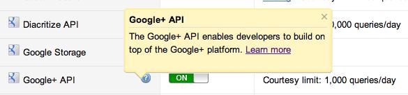 L'API Google+ est enfin disponible !!! - Activation de la clé de l'API