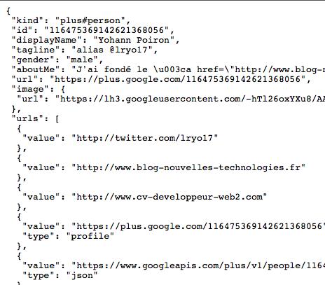 L'API Google+ est enfin disponible !!! - Retour JSON de mon profil