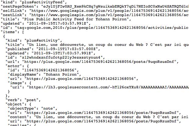 L'API Google+ est enfin disponible !!! - Retour JSON de mes publications