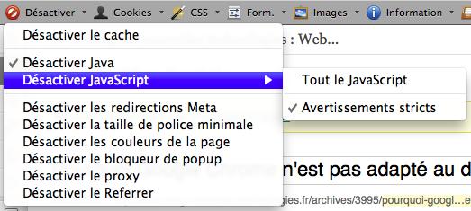 Pourquoi Google Chrome n'est pas adapté au développement Web ? - Désactiver JavaScript