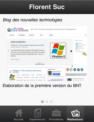 Sencha Touch, introduction aux panels - CV Mobile - Page d'accueil