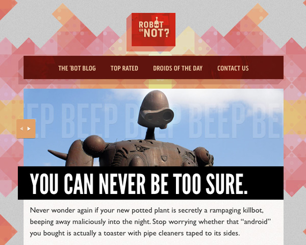 Responsive Web Design : Aperçu du livre - Exemple site Web robot