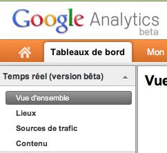 Retour sur les statistiques en temps réel de Google Analytics - Affichage Temps Réel