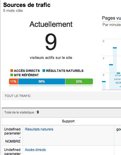 Retour sur les statistiques en temps réel de Google Analytics - Sources de trafic