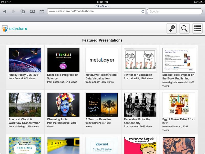 SlideShare laisse tomber le Flash, pour reconstruire entièrement son site en HTML5 - SlideShare sur iPad