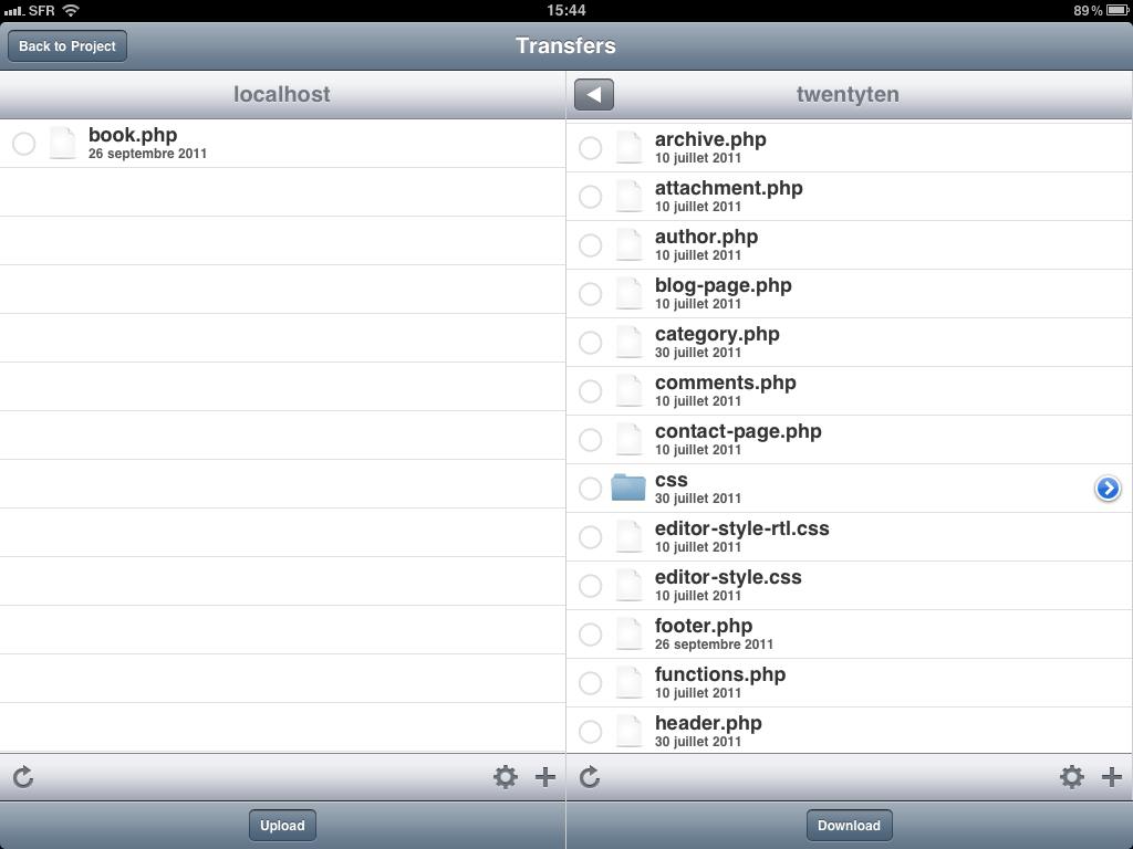 Administrer, éditer et développer ses sites depuis l'iPad - Gusto - Transfert fichiers FTP