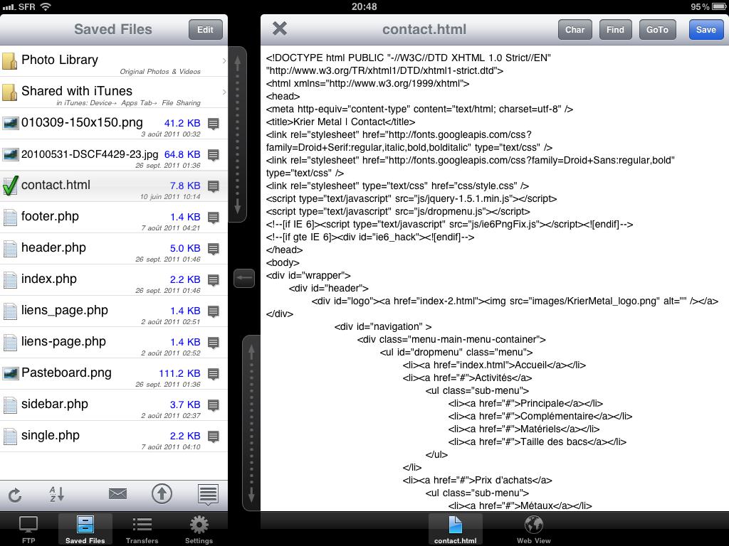 Administrer, éditer et développer ses sites depuis l'iPad - FTP On The Go PRO - Accès aux fichiers