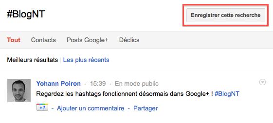 Comment utiliser les hashtags dans Google+ - Sauvegarde du hashtag dans Google+