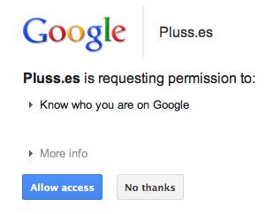 Construire facilement un blog à partir de vos publications Google+ à l'aide de Plusses - Autorisation de Plusses