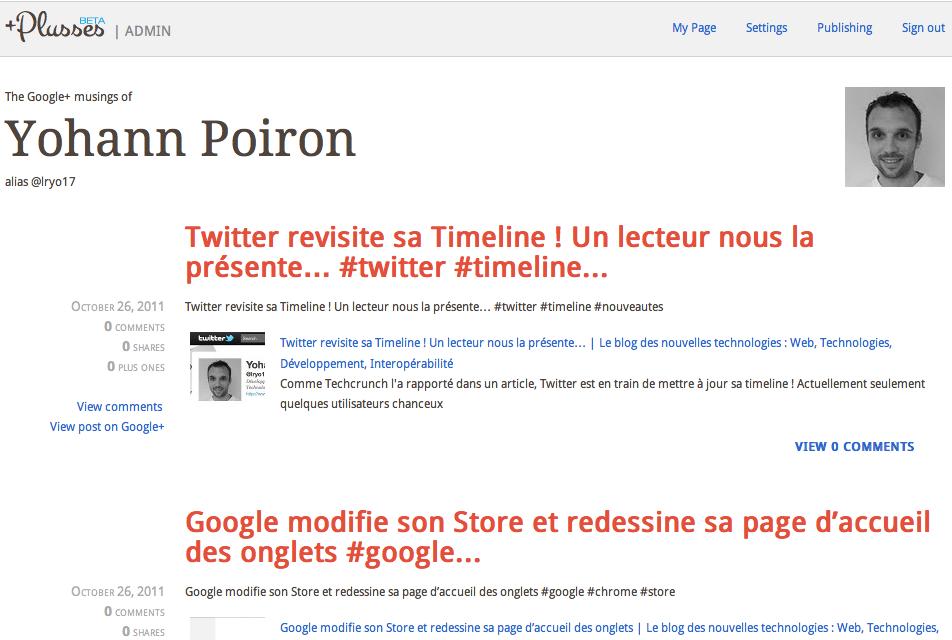 Construire facilement un blog à partir de vos publications Google+ à l'aide de Plusses - Blog Plusses