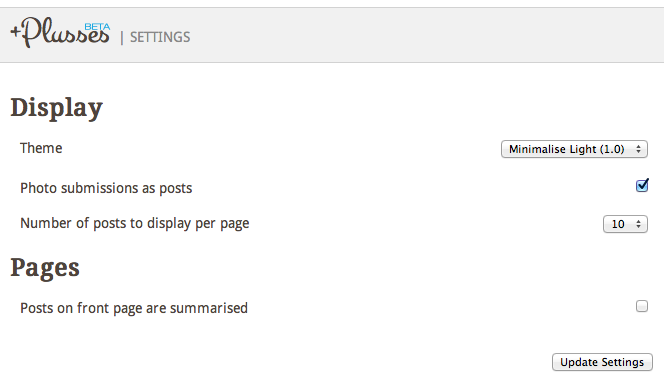 Construire facilement un blog à partir de vos publications Google+ à l'aide de Plusses - Personnaliser blog Plusses