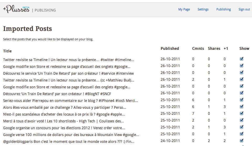 Construire facilement un blog à partir de vos publications Google+ à l'aide de Plusses - Sélectionner les publications pour Plusses