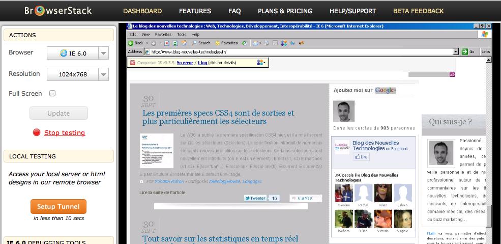 Découvrez BrowserStack.com, un outil formidable pour tester votre site Web efficacement - BlogNT sur IE6