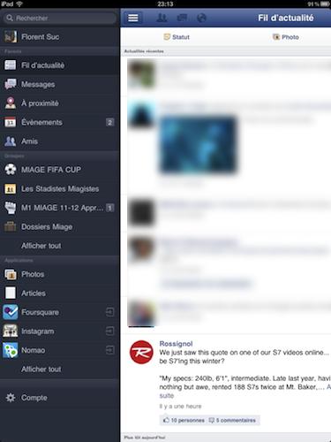 Facebook est disponible sur l'iPad - Vue de l'application