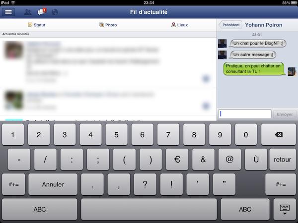 Facebook est disponible sur l'iPad - Chat