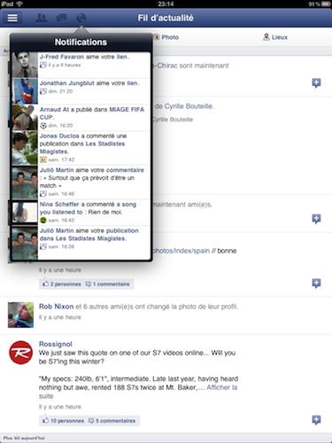 Facebook est disponible sur l'iPad - Barre de navigation