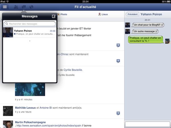 Facebook est disponible sur l'iPad - Conversation multi-chat