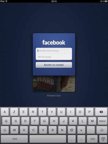 Facebook est disponible sur l'iPad - Connexion