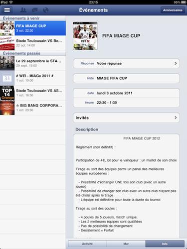 Facebook est disponible sur l'iPad - Affichage des événements