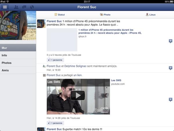 Facebook est disponible sur l'iPad - Mur