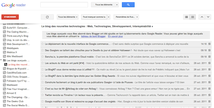 Google Reader vient d'être mis à jour ! - Nouveau look Google Reader