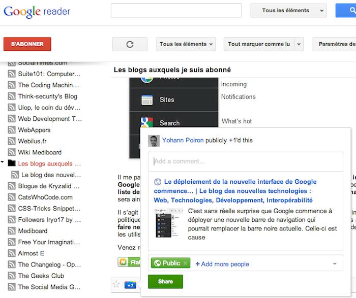 Google Reader vient d'être mis à jour ! - Partage dans Google Reader