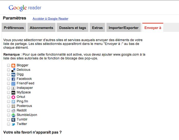 Google Reader vient d'être mis à jour ! - Partage vers d'autres services Google Reader