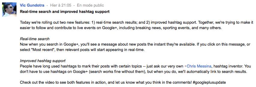 Deux nouveautés dans Google+ : recherche en temps réel et hashtag !