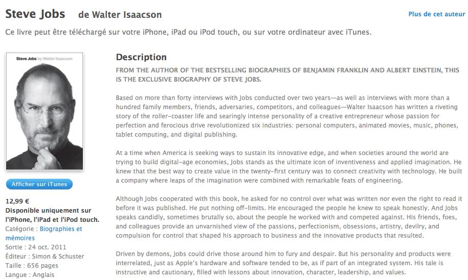 Le livre de Steve Jobs par Walter Isaacson déjà disponible sur iTunes et Kindle (version Anglaise) - iTunes Store