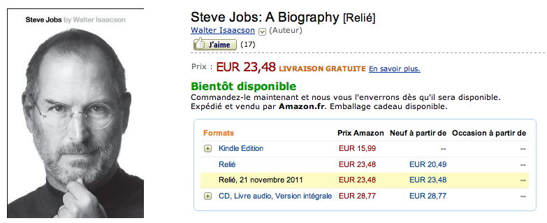 Le livre de Steve Jobs par Walter Isaacson déjà disponible sur iTunes et Kindle (version Anglaise) - Amazon France