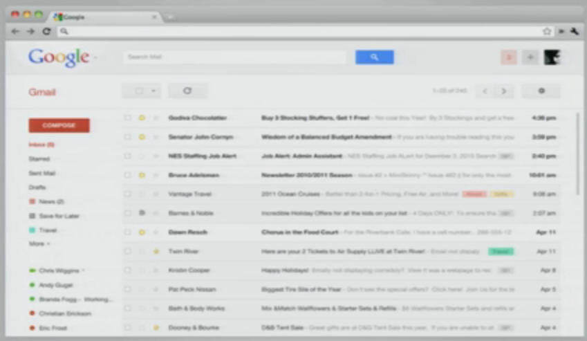 Les interfaces de Google vont encore évoluer ? Bientôt la fin de la barre noire ? - Nouvelle interface dans GMail