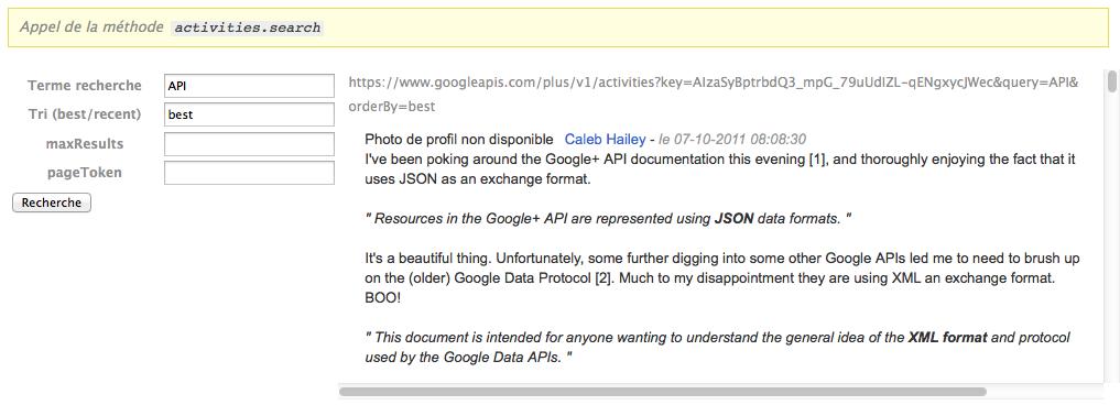 Mise en oeuvre de l'API Google+ en PHP : Partie 2 – Récupérez la liste de vos activités - Activities.search