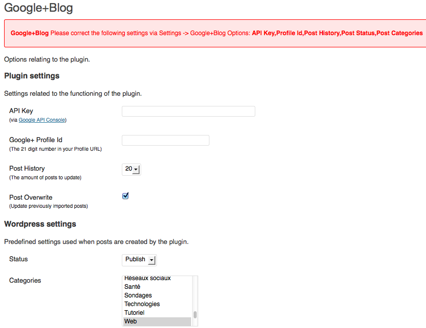 Partager vos publications Google+ sur votre blog WordPress avec ce plugin - Paramétrage Google+Blog