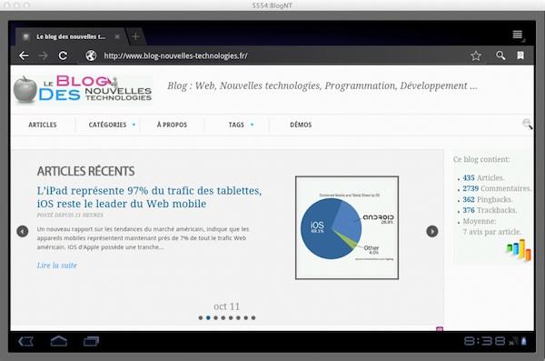 Tester votre design mobile sans avoir besoin d'appareil... - Test du BlogNT dans l'émulateur Android
