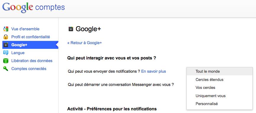 Vous pouvez maintenant autoriser qui peut vous informer des notifications sur Google+ - Options possibles