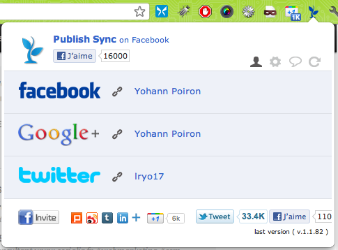 3 extensions Google Chrome indispensables pour partager sur Google+, Facebook et Twitter - Configuration Publish sync for Google+ & Facebook