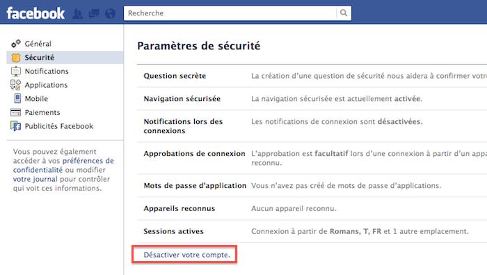 Comment désactiver et supprimer définitivement votre compte Facebook - Onglet sécurité