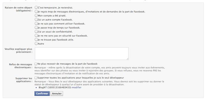 Comment désactiver et supprimer définitivement votre compte Facebook - Confirmation désactivation du compte