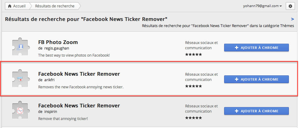 Comment faire pour supprimer le 'Ticker' de Facebook - Facebook News Ticker Remover dans Chrome Web Store