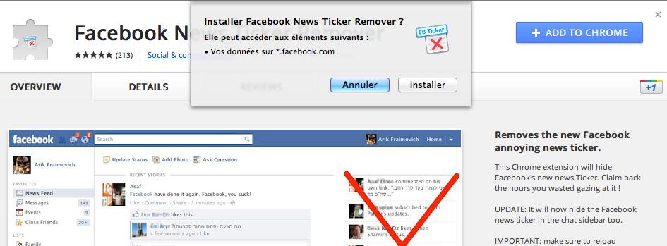 Comment faire pour supprimer le 'Ticker' de Facebook - Ajouter l'extension à Chrome
