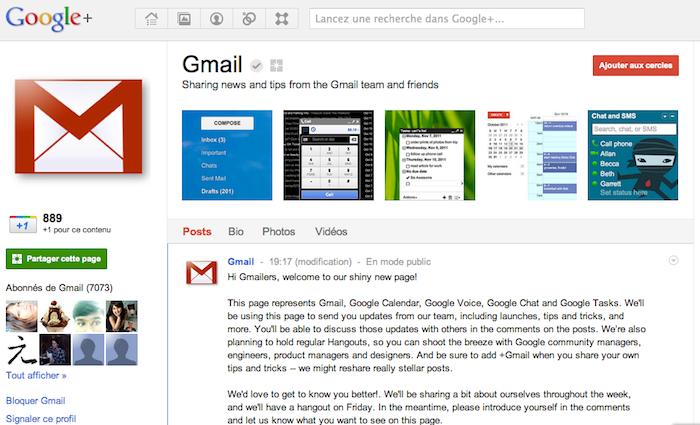 Comment Google va se servir de ses pages Google+ ! - Page Google+ Gmail