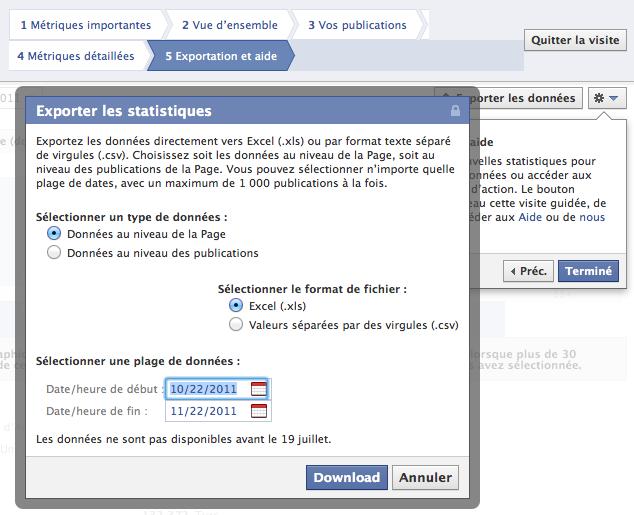 Des nouveautés dans vos pages Facebook ! Des statistiques pour adapter votre contenu à votre audience - Export des données