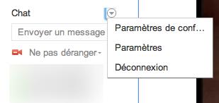 Gérer vos contacts Google+ qui sont dans Google Chat - Menu d'options de GTalk