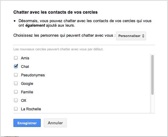 Gérer vos contacts Google+ qui sont dans Google Chat - Créer un cercle 'chat'