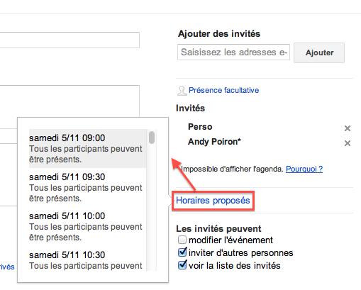 Google Agenda lance une nouvelle fonctionnalité : 'Horaires proposés' - Choix de l'horaire souhaitée