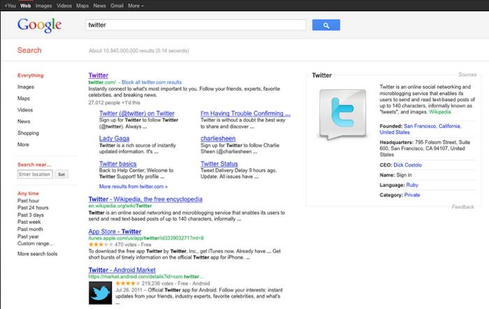 Google teste l'affichage de la 'source' dans les résultats de recherche - Recherche terme Twitter