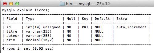 MySQL pour les débutants - explain livres;