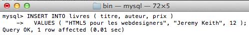 MySQL pour les débutants - INSERT INTO livres